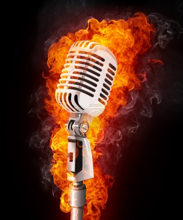 Photo for Old Microphone in Fire. Computer Graphics. - Royalty Free Image