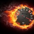 Speedometer in Fire Isolated on Black Background...