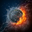 Speedometer in Fire and water Isolated on Black Ba...