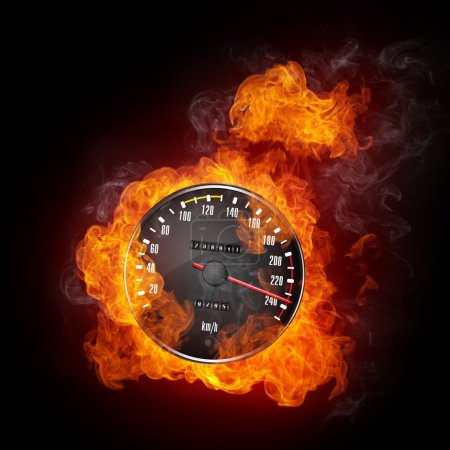 Photo for Speedometer in Fire Isolated on Black Background - Royalty Free Image
