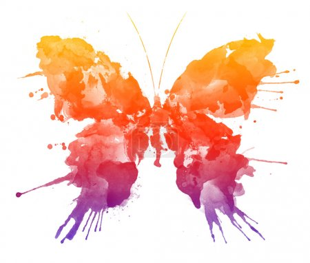 Photo for Watercolor Butterfly Isolated on the White Background - Royalty Free Image