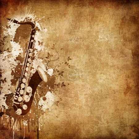Photo for Old Paper. Retro Music Texture Background with Jazz Saxophone - Royalty Free Image