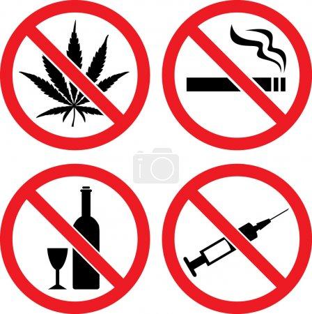 """Illustration pour Interdiction des signes vectoriels """"Interdiction de fumer"""", """"Pas de drogues"""", """"Pas de cannabis"""" et """"Pas d'alcool"""" """" - image libre de droit"""