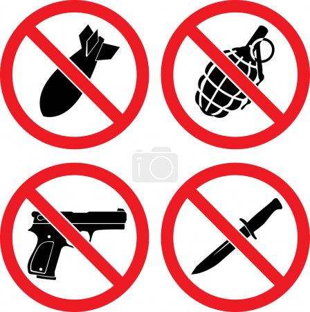 """Forbidding Signs """"No weapons"""""""