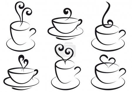Illustration pour Ensemble de tasses à café et thé torride, vecteur - image libre de droit