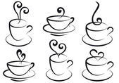 Set of steamy coffee and tea cups vector
