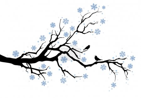 Illustration for Beautiful winter tree with snowflakes and birds, vector background - Royalty Free Image