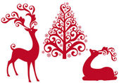 Red reindeer with ornamental christmas tree vector background