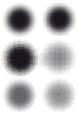 Illustration for Set of grungy halftone patterns, vector - Royalty Free Image