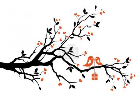 Illustration pour Oiseau d'amour avec boîte cadeau, assis sur une branche d'arbre, fond vectoriel - image libre de droit