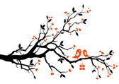 Love bird with gift box sitting on a tree branch vector background