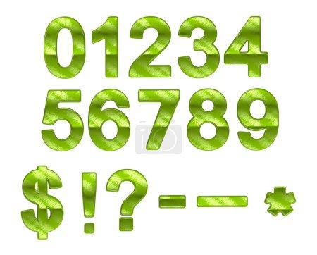 Green ecofriendly 0-9 numerals with grass pattern