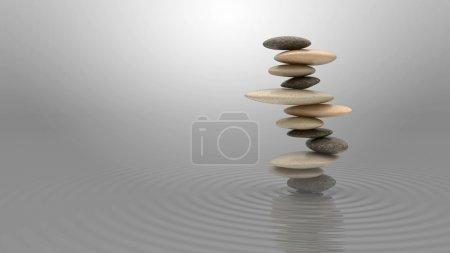 Photo pour Concept de l'harmonie et l'équilibre. pile de galets sur l'eau sur le ciel bleu - image libre de droit
