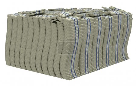 Huge pile of US dollars isolated