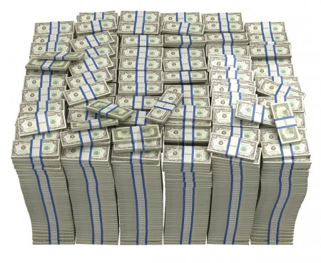 Photo pour Le Trésor. Grand paquet de dollars américains isolé - image libre de droit