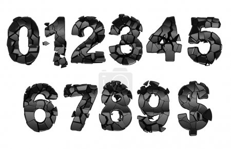 Photo for Broken 0-9 font numerals isolated on white - Royalty Free Image