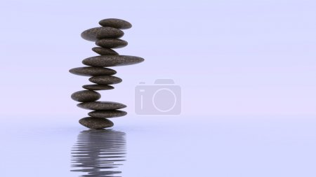 Photo for Stability and balance. Plie of Pebbles on water surface - Royalty Free Image