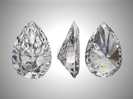 Photo pour Bas, haut et vue de côté du diamant poire. plus de gris - image libre de droit