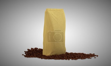 Pack on coffee beans over grey