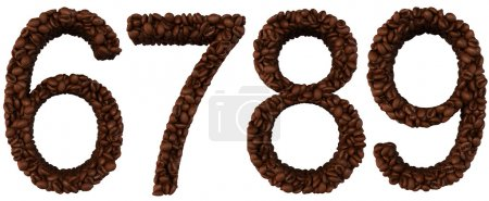 Photo for Coffee font 6 7 8 9 numerals isolated over white - Royalty Free Image