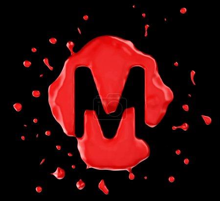 roter Fleck m Buchstabe über schwarzem Hintergrund