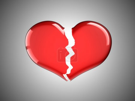 Photo for Sickness and pain. Red Broken Heart over grey background - Royalty Free Image