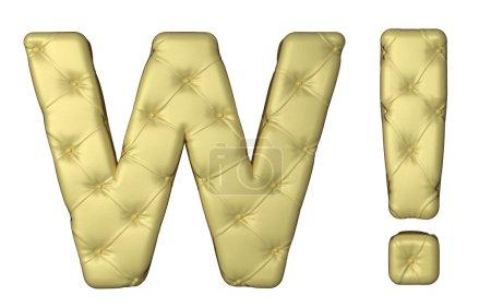 Luxus beige Lederschrift mit Buchstaben und Wow