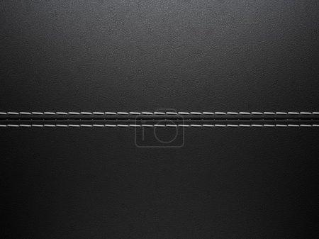 Photo pour Fond noir cuir cousu horizontale. grande résolution - image libre de droit