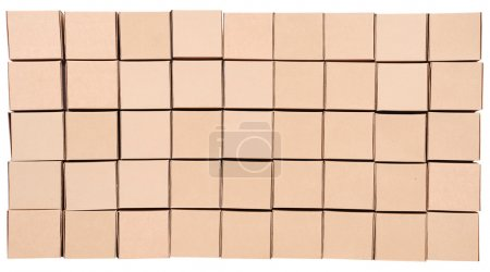 Photo for Stack of carton boxes package on white background with clipping path - Royalty Free Image