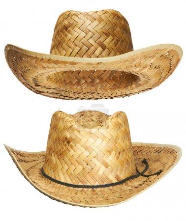 Yellow wicker straw hat
