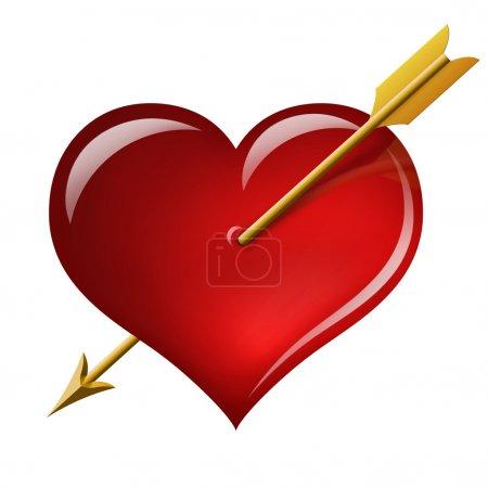Photo pour Coeur rouge avec une flèche de la Cupidon isolé sur fond blanc - image libre de droit