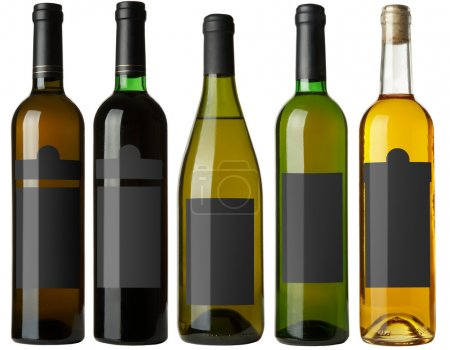 Set 5 bottles with black labels