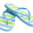 Blue and Green Flip Flop Sandals Isolated on White...