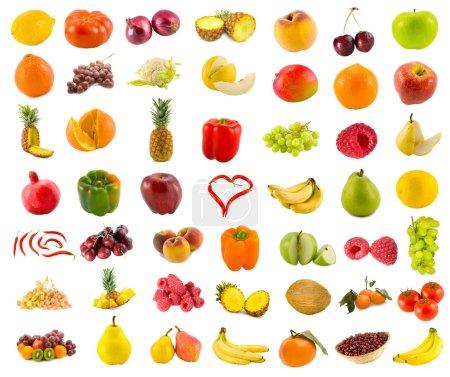 Photo pour Ensemble de 49 fruits, légumes et baies variés - image libre de droit