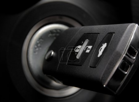 Car key into ignition lock
