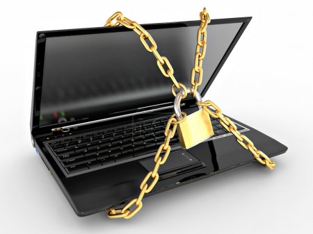 Photo for Laptop with chains and lock on white isolated background. 3d - Royalty Free Image