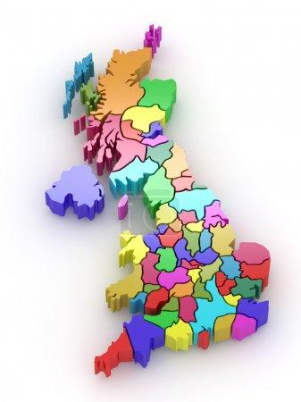 Photo pour Carte tridimensionnelle de la Grande-Bretagne sur fond isolé blanc. 3D - image libre de droit