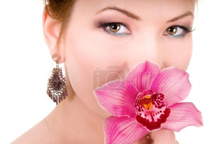 Pink Orchid and beauty woman