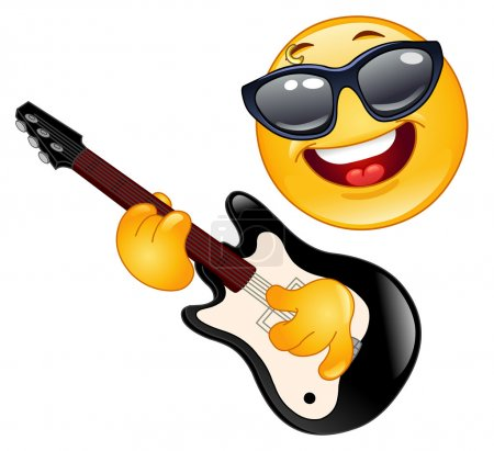 Illustration for Rock emoticon playing the guitar - Royalty Free Image