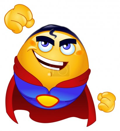 Illustration for Super hero emoticon - Royalty Free Image