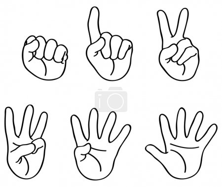 Illustration for Outlined counting fingers - Royalty Free Image