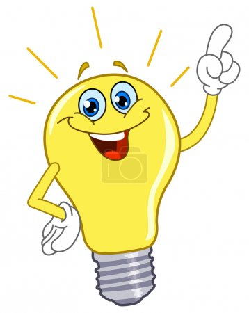Illustration for Cartoon light bulb - Royalty Free Image
