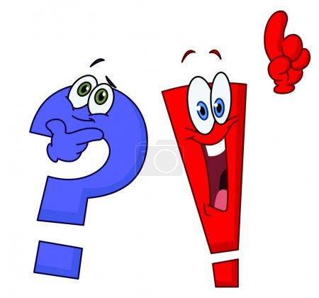 Illustration pour Question de dessin animé et points d'exclamation - image libre de droit