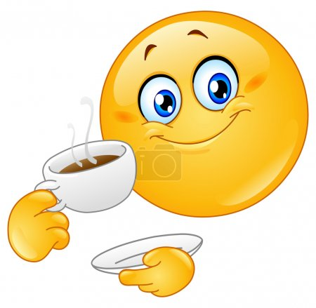Illustration for Emoticon drinking coffee - Royalty Free Image