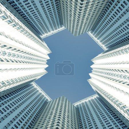 Photo pour Vue prospective sur les nouveaux gratte-ciel modernes du centre d'affaires - image libre de droit