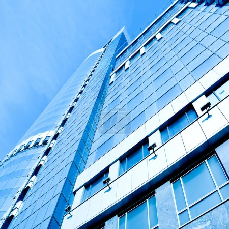 Photo for Perspective view to blue business glass modern panoramic skyscrapers - Royalty Free Image