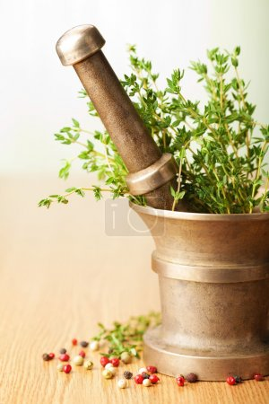 Photo for Mortar with herbs - Royalty Free Image
