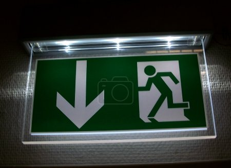 Hanging emergency exit sign