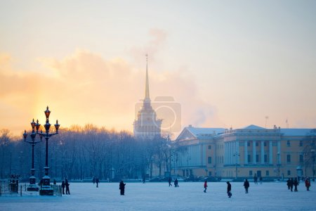 Photo for Cathedral in snow in the frosty evening - Royalty Free Image