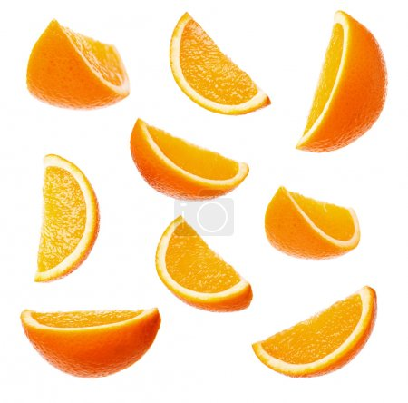 Photo for Collection perfect orange slices isolated on white background - Royalty Free Image